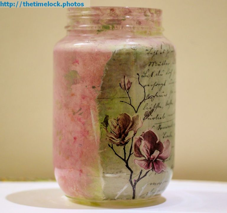 Reverse Decoupage with rice paper and glass jar